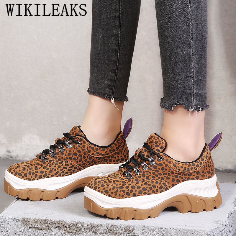 Leopard Women's Vulcanize Shoes Suede Leather Shoes Woman High Platform Sneakers Wedges Shoes For Women Trainers Tenis Feminino