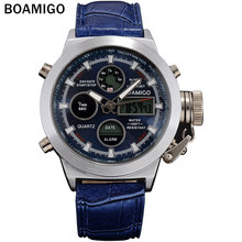 BOAMIGO deporte de la manera de los hombres de doble pantalla relojes banda de cuero de 2016 nuevo hombre relojes de pulsera 30 M impermeable reloj digital azul hombre