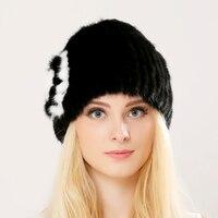 High Quality Russia Women Real Mink Fur Hat With Fox Fur Pom Pom Top 2016 New