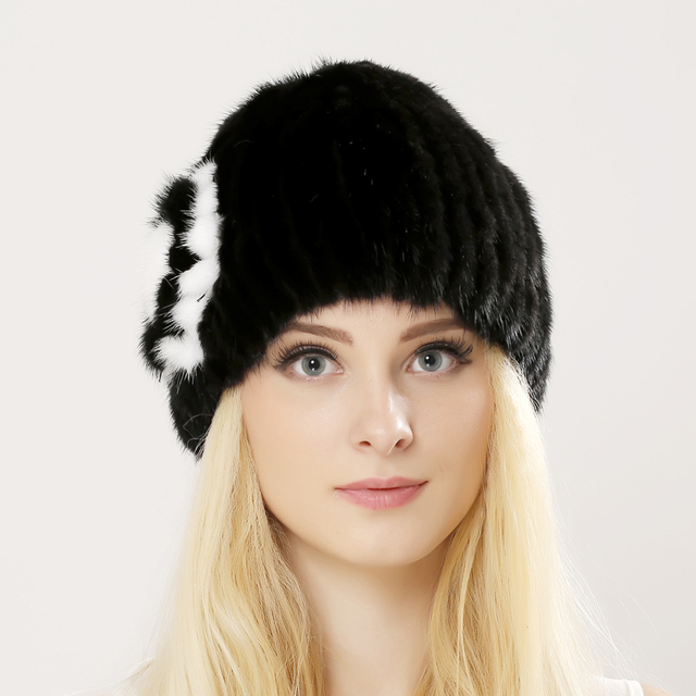 Women's Winter Hats 2016 Knitted Beanie With mink Fur Ball Women Customized Headgear Hat For Women Casual Female Mink Fur Hats