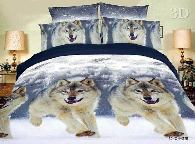 3d snow wolf animal print bedding set queen size duvet quilt cover bedspread bed in a