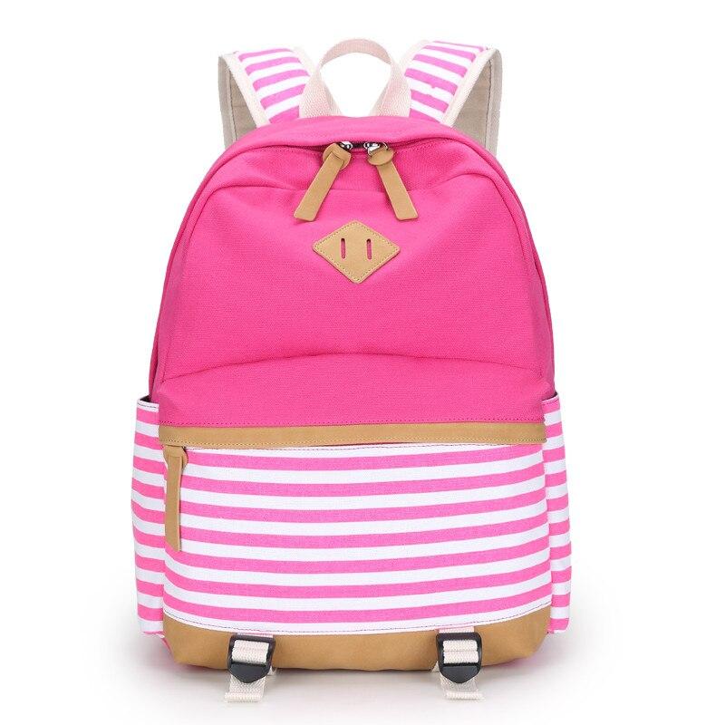 pink stripe children backpacks red flower girls backpack child bagpack  women school bag kids canvas backapck fabric bag bookbag 08a4889d76