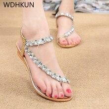 купить WDHKUN Women Sandals Bling Crystal Summer Shoes Woman Beach Flat Sandals Plus Size Flip Flop Ladies Soft Bottom Slippers Female по цене 615.08 рублей