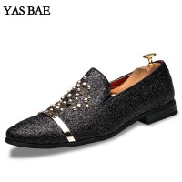 Yas Bae Casual Brand Rock Black Male Boot High Top Studded Shoe Hightop Footwear Street Style