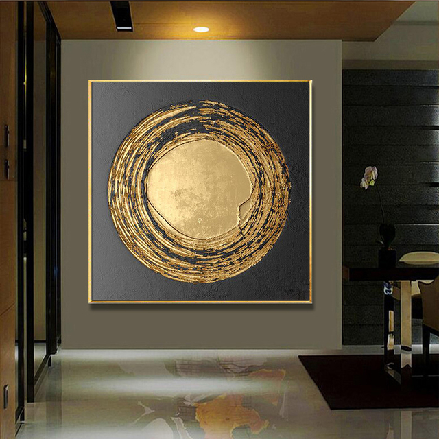 1 Panel Hd Abstract Golden Black Round Wall Art Picture Home