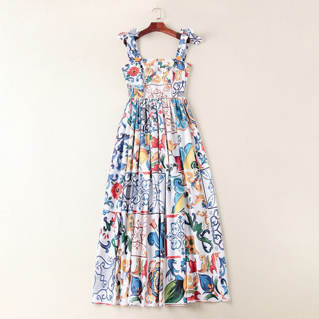 c0a37f9b1485f US $59.36 15% OFF Women fashion sexy sicily porcelain tile patterns print  dress spaghetti strap floor length bohemian dresses new 2018 blue-in  Dresses ...