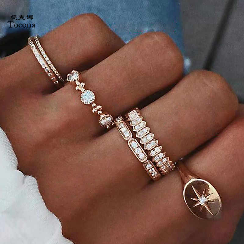 Tocona 6pcs/Set Bohemia Antique Gold Crown Sun Rhinestone Knuckle Finger Midi Rings Set for Women Fashion Ring Jewelry 6834