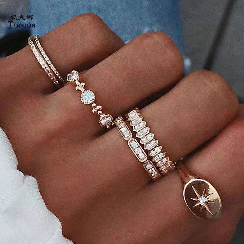 Tocona 6pcs/Set Bohemia Antique Gold Crown Sun Rhinestone Knuckle Finger Midi Rings Set For Women Fashion Ring Jewelry 6834