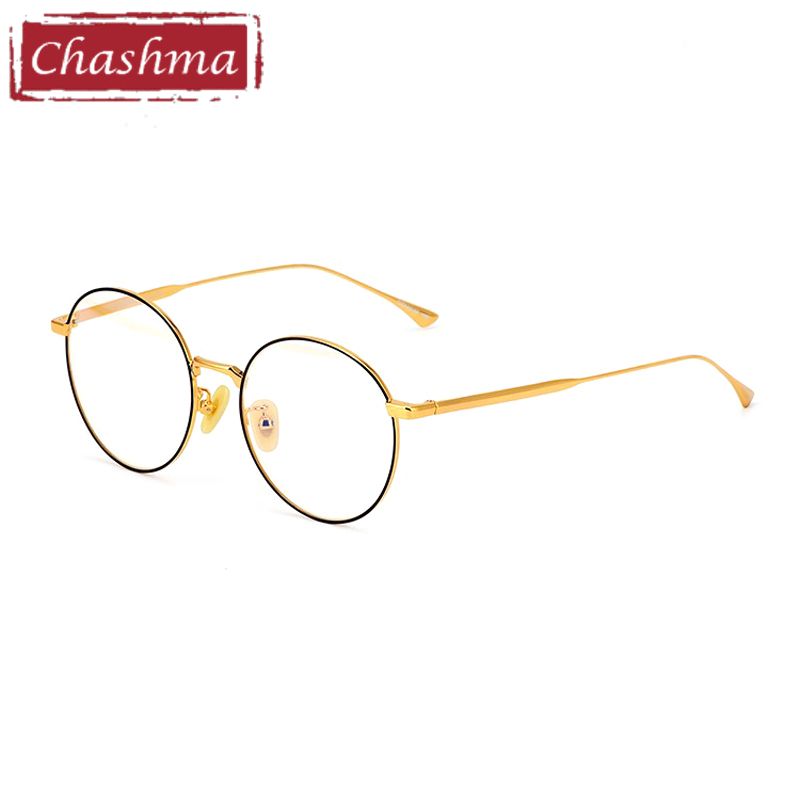 ce438004bf Chashma monturas de oro de titanio Vintage de lentes de mujer monturas de  gafas para hombres marcos de gafas de prescripción para mujeres redondas ...