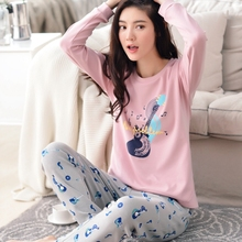 Spring and autumn sleepwear female 100% cartoon cotton long-sleeve pullover autumn and winter 100% cotton set lounge female