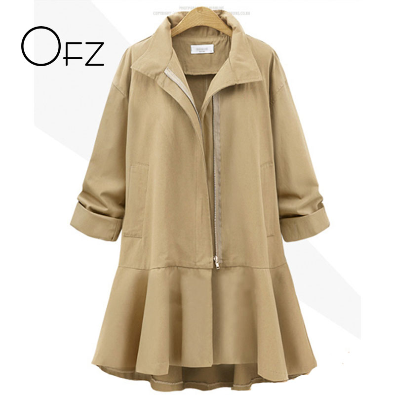 2017 Autumn European Style Plus Size 4XL,5XL Loose Casual Female   Trench   Coats Elegant Skirt Ladies Cardigans Long Outerwear
