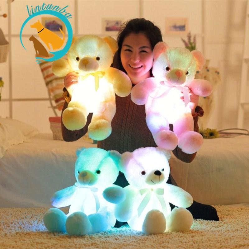 Kawaii Bear Led Pillow Light Up Stuffed Animal Plush Toys Lovely Plush Bear Light Up Pillow Gifts For Girls Christmas Gifts 50cm
