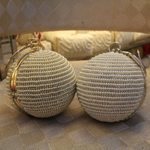 2016 Ball Shaped Diamond Beading Luxury Evening Bags Women beaded clutch bags wedding bags for ladies pearl party bags L1049