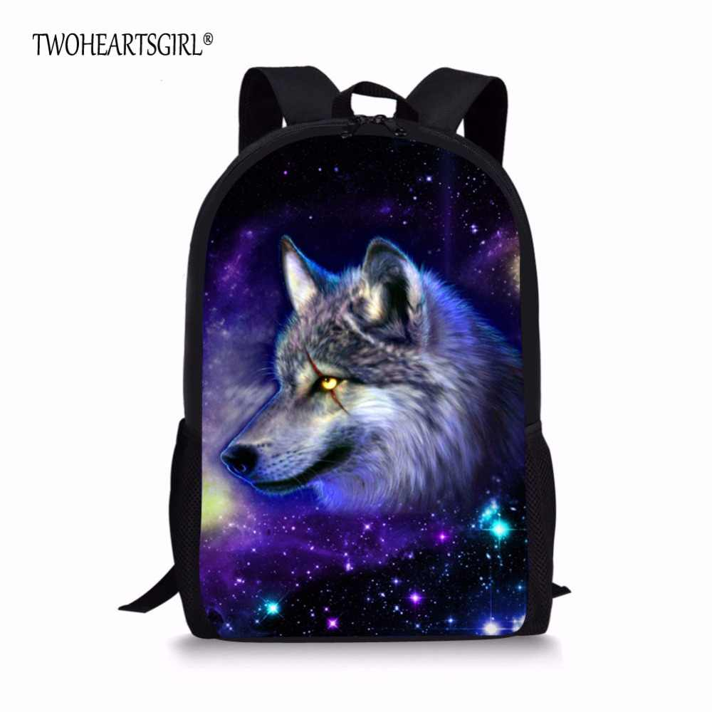 TWOHEARTSGIRL Galaxy Star Wolf Children Backpacks for Teenagers Boys School Daypack Student Kids Bagpack Rucksack Mochila