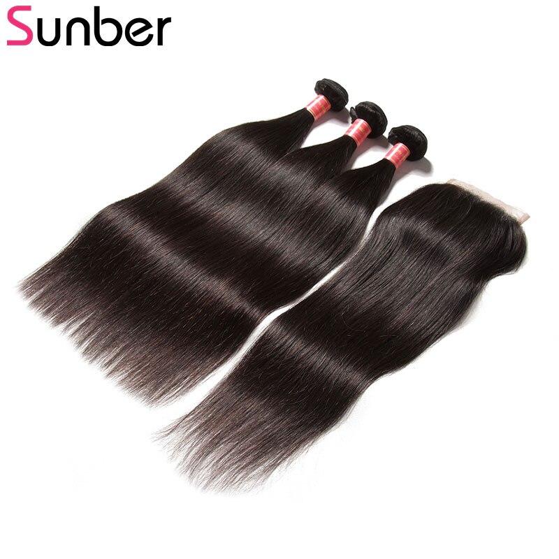 Sunber индийские волосы прямые волосы Связки с закрытием, волосы remy расширения 100% че ...