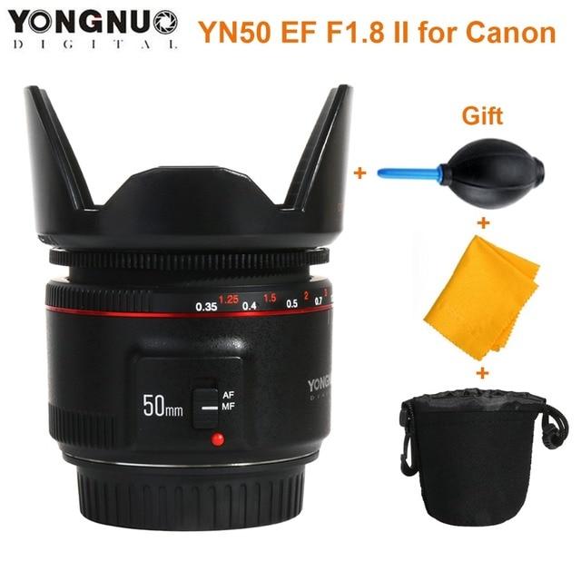 US $75 23 16% OFF|YONGNUO YN50mm F1 8 II Large Aperture Auto Focus Lens for  Cannon Bokeh Effect Camera Lens for Canon EOS 70D 5D2 5D3 600D DSLR-in