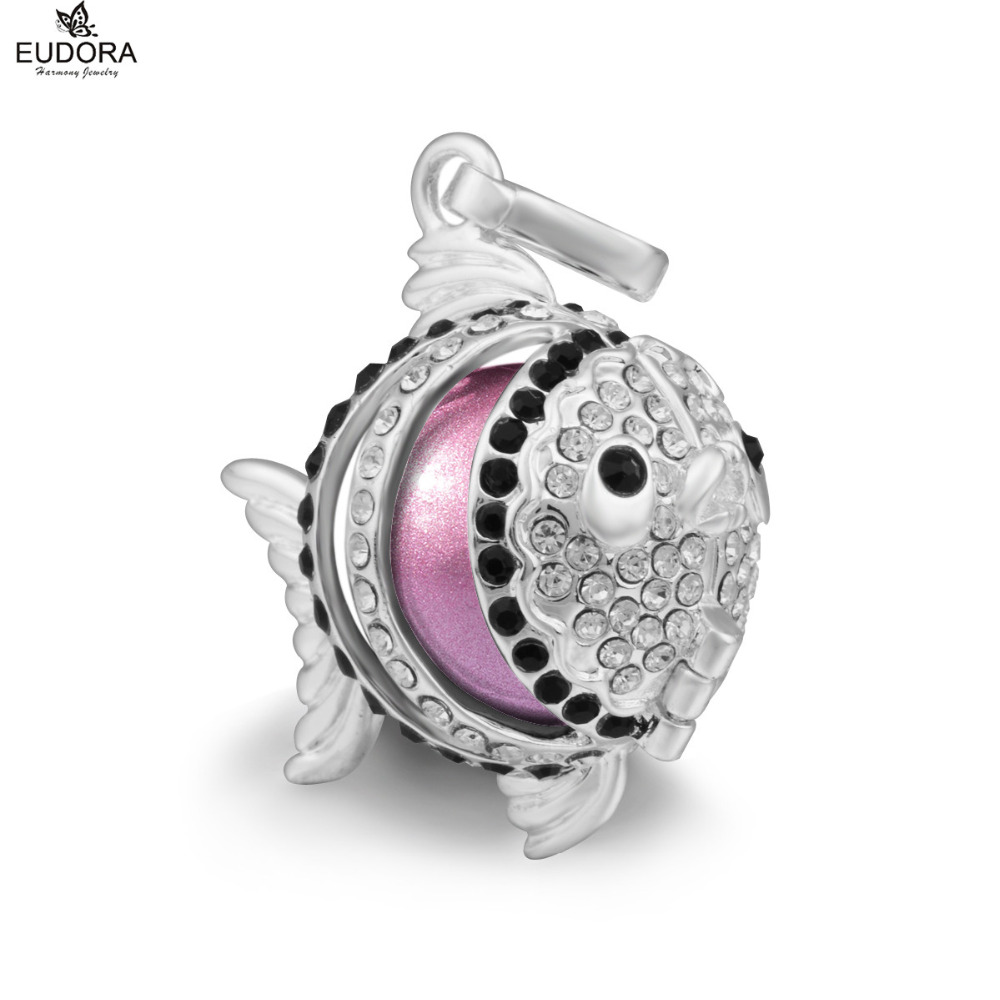5PCS Lovely Fish with Crystal Eudora Harmony Ball Locket Pendant Necklace fit for Purple Mexican Bola Necklace Jewelry