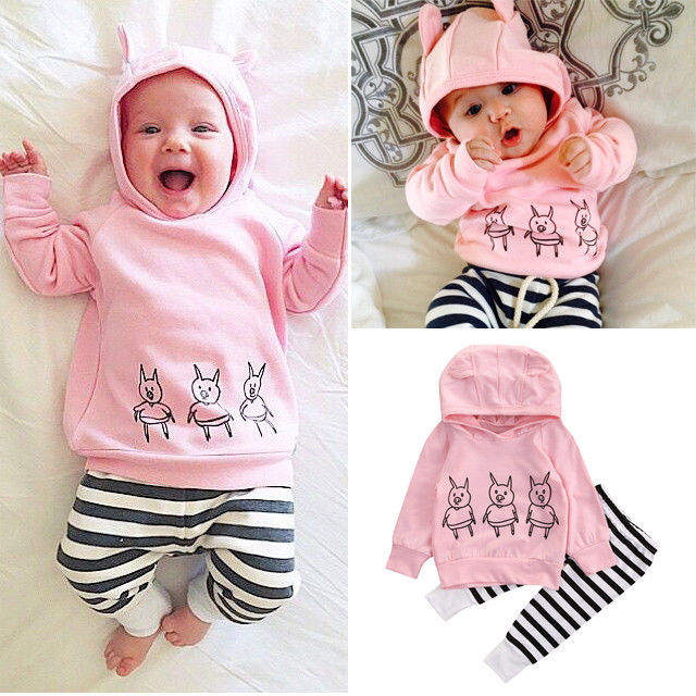 2Pcs/set Newborn Baby Girls Clothes Long Sleeve Hooded Sweatshirt Tops+Striped Pants Outfits Spring Fashion Printed Baby Set