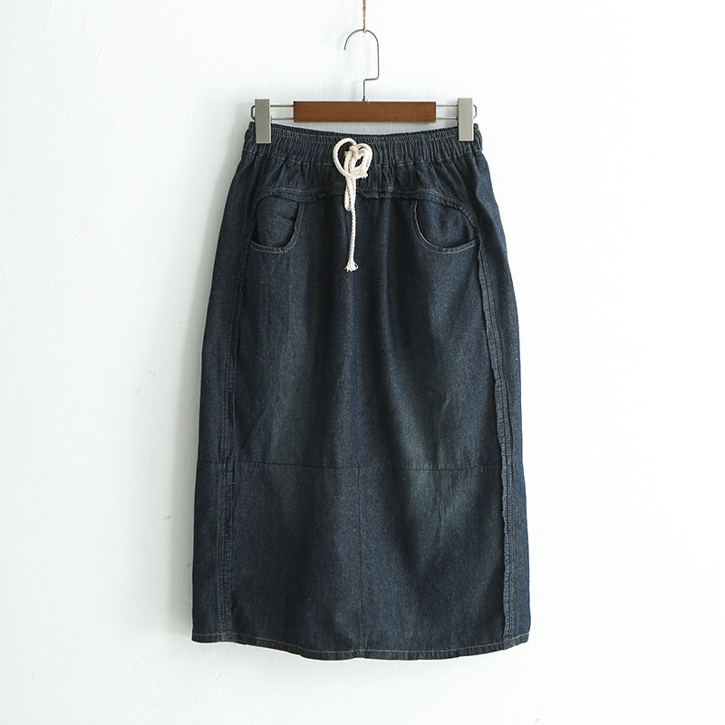 Fashion Female Demin Plus Size Nature Waist Lace up Knee Length A shape Midi <font><b>Jeans</b></font> <font><b>Navy</b></font> Blue Skirt Chic Womens