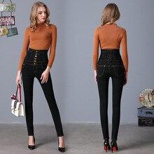 Европейский стиль плюс размер S-6XL хлопок джинсы женщины однобортный высокая талия мода все матч тонкий карандаш джинсовые брюки женщина D5