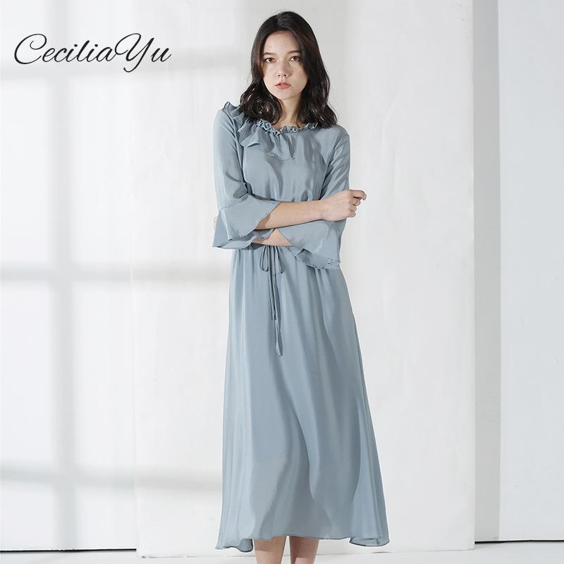 2019 New Style Summer Women Silk Dress Female Solid Color Waist 100% Long Womens Casual Wear Ceciliayu