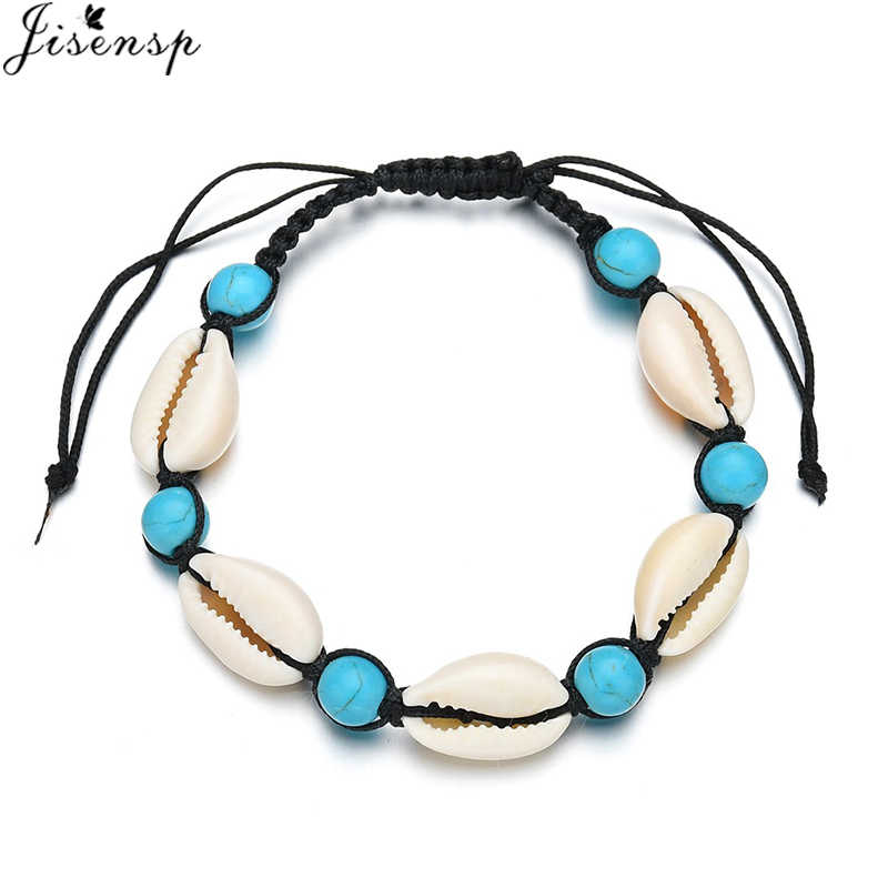Jisensp Vintage Bohemian Seashell Bead Rope Chain Bracelet Simple Beach Shell Bracelet Jewelry for Woman Girls Birthday Gifts