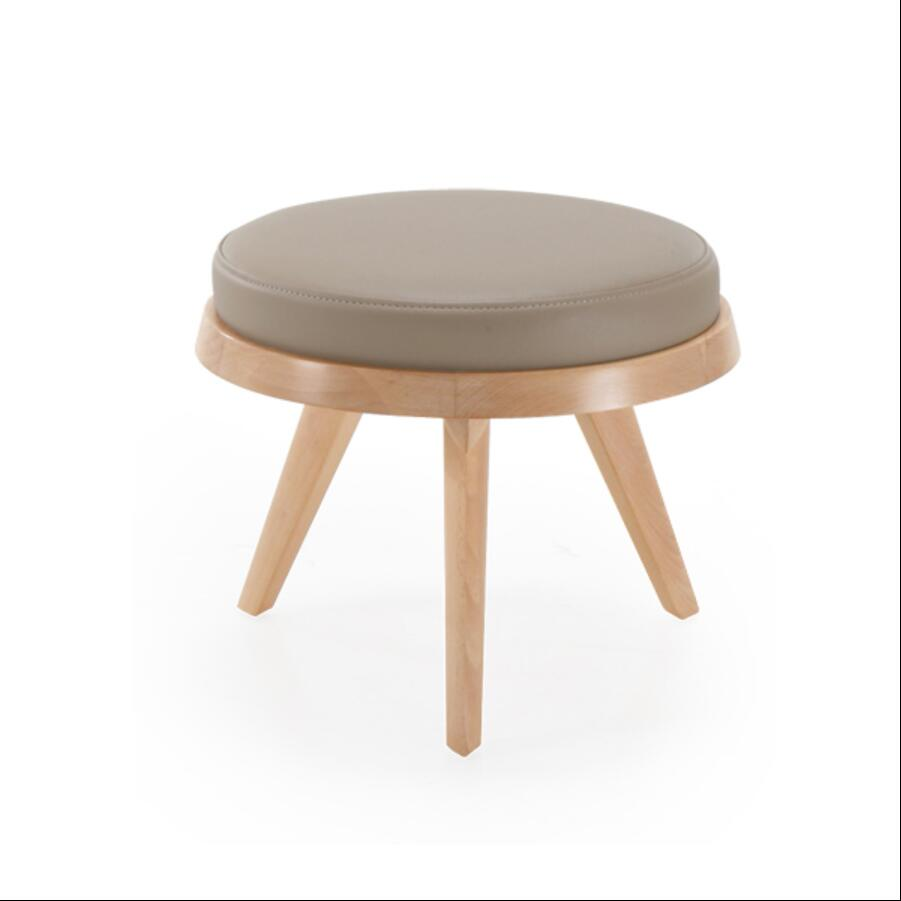 New fashion leather stool ottoman solid wood stool round ottoman Nordic wood furniture, leather living room small leather stool cartoon animal patern children stool kid seater portable fishing stool living room furniture children ottoman bathroom stool