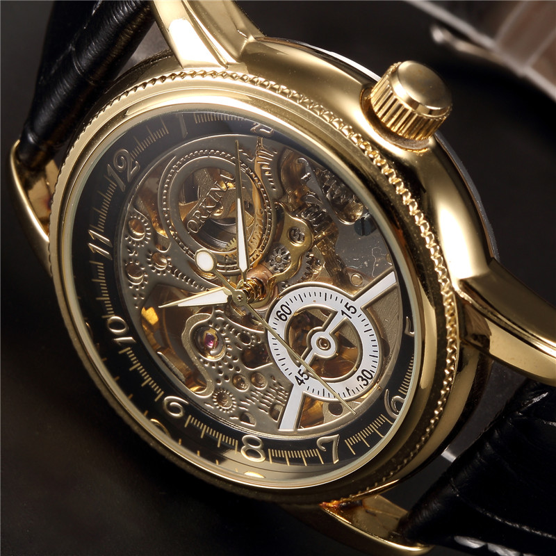 ORKINA Clock Men Leather Skeleton Watch Classic Retro Golden Case Relogio Male Masculino Mechanical Automatic Watch