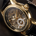 ORKINA Clock Men Leather Skeleton Watch Classic Retro Golden Case Relogio Male Masculino Mechanical Automatic Watch