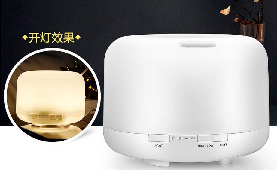 Wholesale 500ML Warm White LED Aromatherapy Diffuser Essential Oils Diffusers Household Mute Purifier Air Ultrasound Humidifier