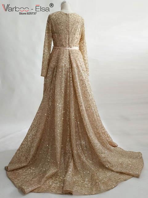 placeholder VARBOO ELSA 2018 Long Sleeve Muslim Party Dress Arab Custom  Luxury Rose Gold Sequined Evening Dress Detachable b07edd0f3efa