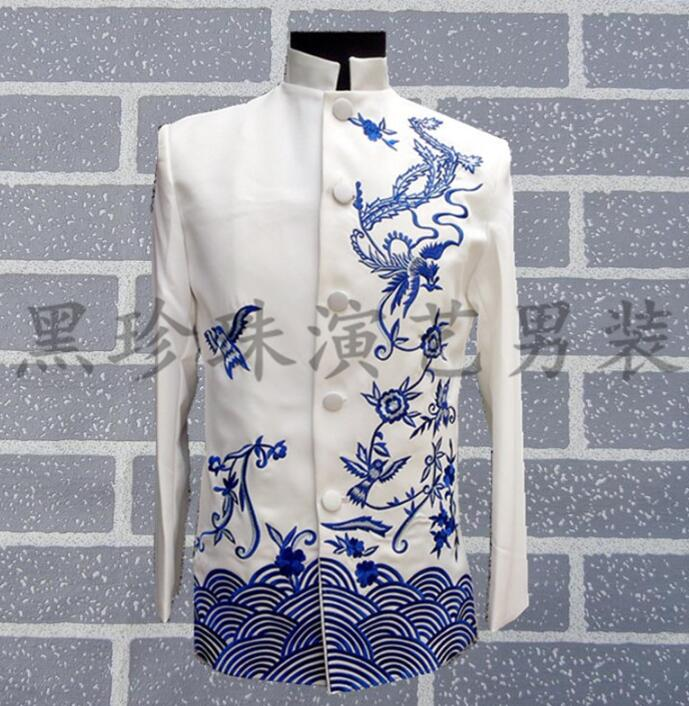 Chinese Style Men Tunic Suits Designs Masculino Homme Stage Costumes For Singers Men Blazer Dance Clothes Jacket Style Dress