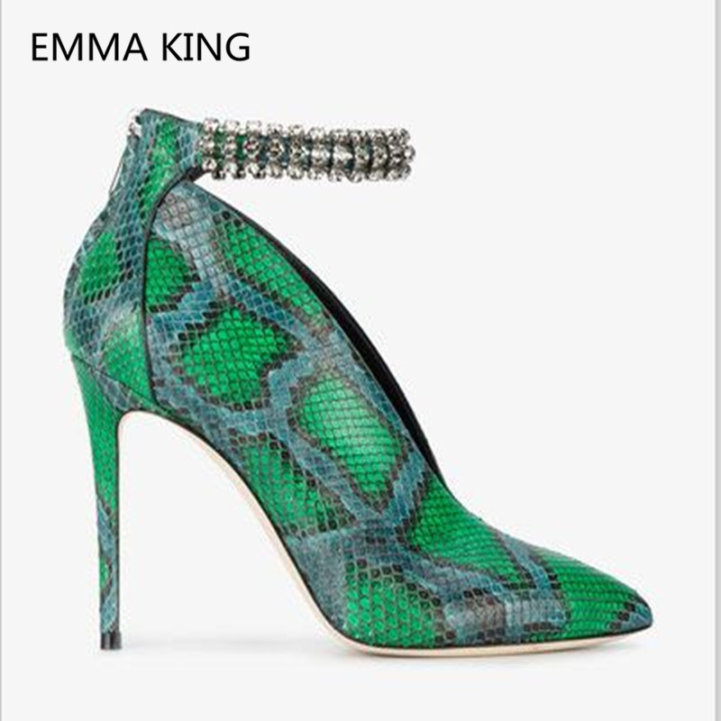 Snake-Prints-Deep-V-Design-Sexy-Women-Ankle-Boots-Pointed-Toe-Fashion-boots-Ankle-Crystal-Strap