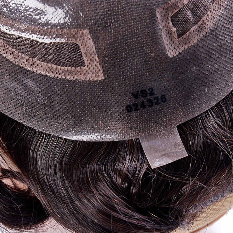 Addbeauty Donkerbruin Vinden Mono Kant Met Dunne Pu Mannen Toupetje Haar Vervanging Systemen Indian Remy Human Haarstukje Pruik Natuurlijke