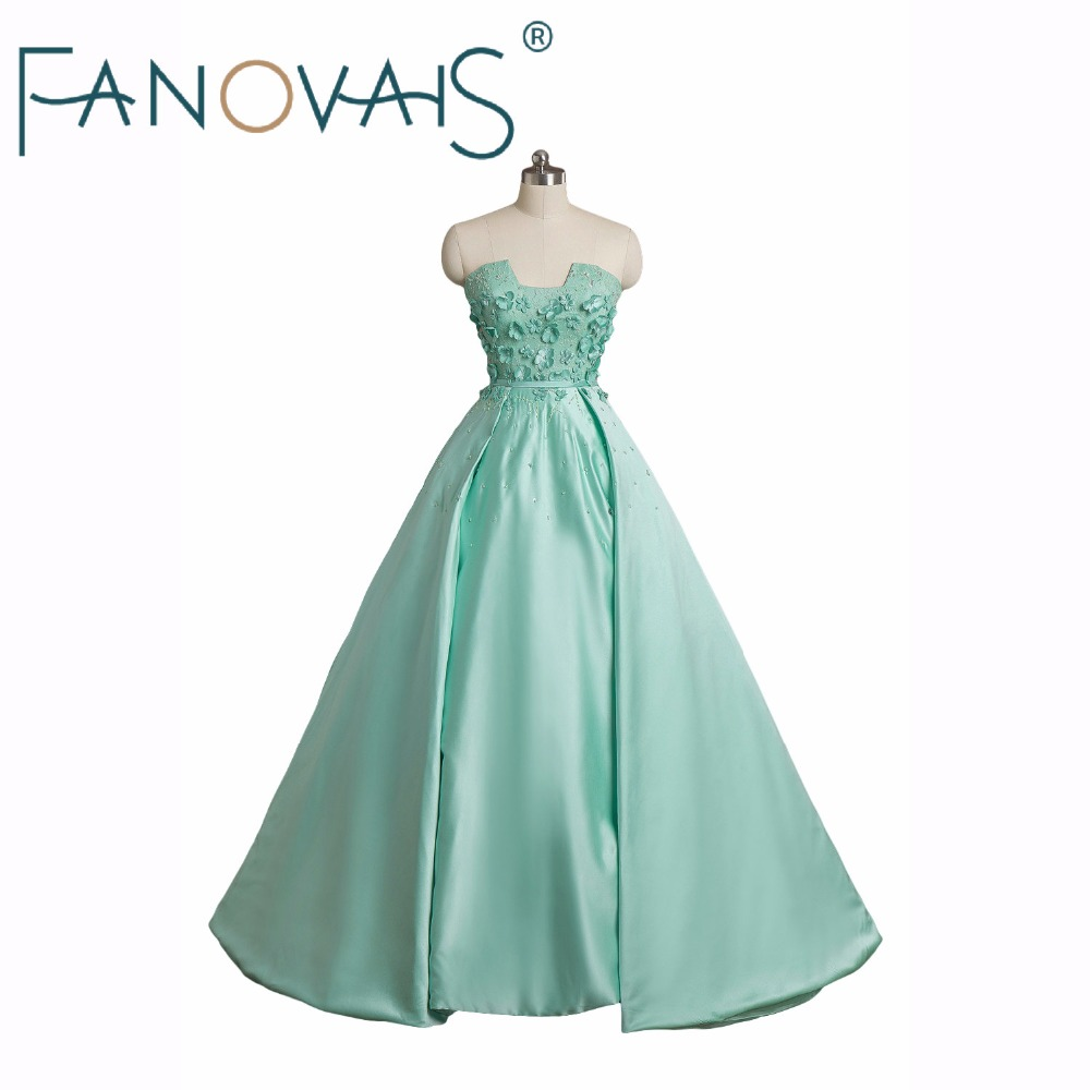 Mint Green A line   Prom     Dresses   Flower Decoration Formal Party Gowns 2019 Luxurious Vestido de festa Evening   Dresses   Robe maree