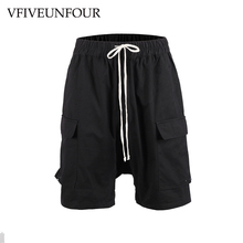 купить VFIVEUNFOUR Men's Large Side Pocket Casual Shorts Harajuku Hip hop Sportswear Shorts Men Fashion Tactical black Vintage Shorts дешево