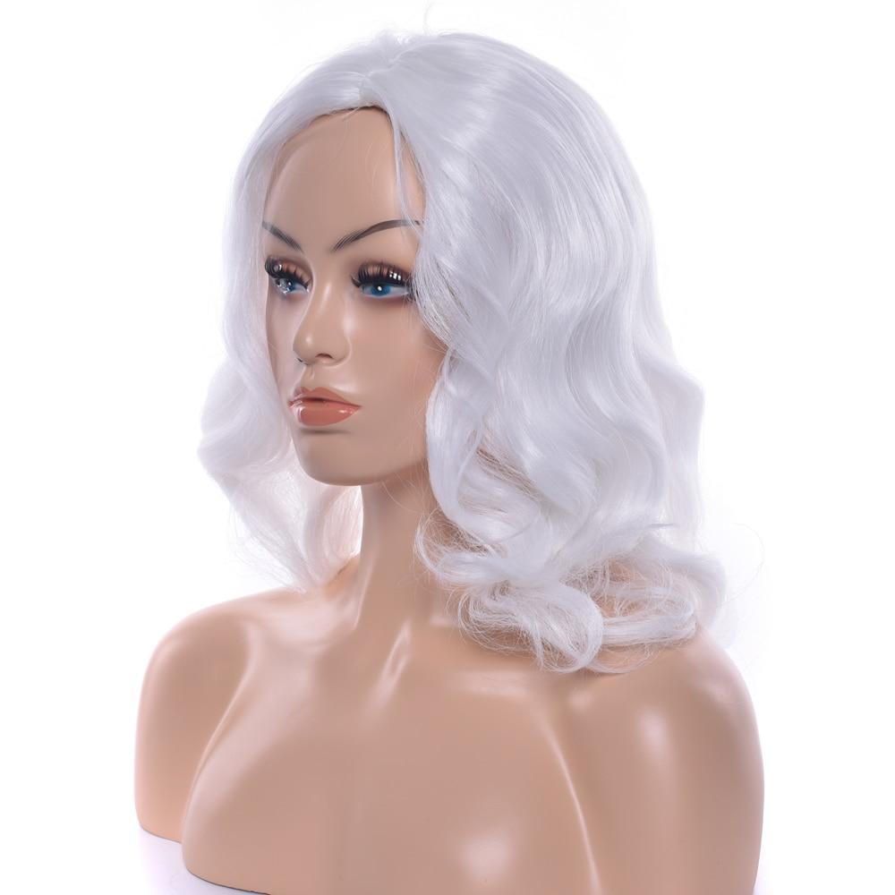 Soowee Medium Wavy Synthetic Hair White Cosplay Wig High Temperature Fiber Party Yaki Hair Accessories Headwear Wigs for Women