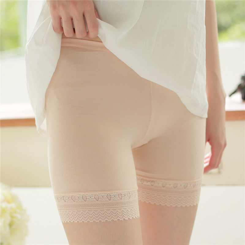 Women Plus Size Shorts Elastic Anti Chafing Lace Comfortable Shorts Anti-light Seamless Intimates Boyshorts