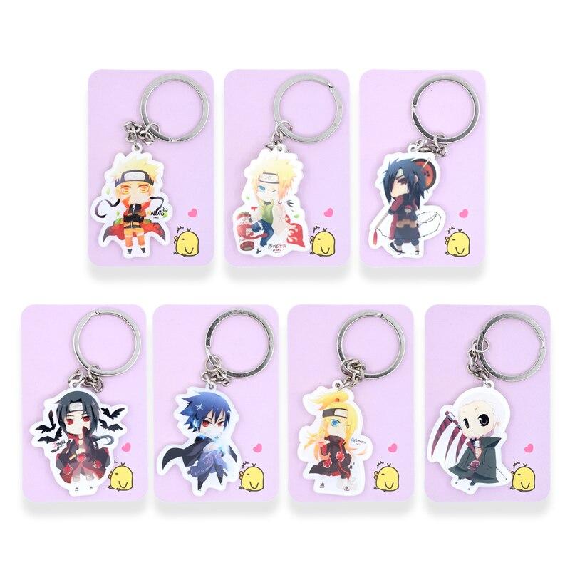 Naruto Keychain 13 Styles Sasuke Minato Key Chains Hot Sale Custom made Anime Key Ring PSS159
