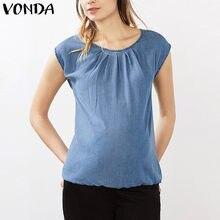 421f5cba0 VONDA Verano de 2019 ropa de maternidad embarazo mujeres Casual suelto  sólida blusa camisas O cuello