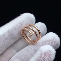 Fine Jewelry Juste Real 18K Rose Gold Un Clou Chrismas Present Real Diamonds Nail Rings For