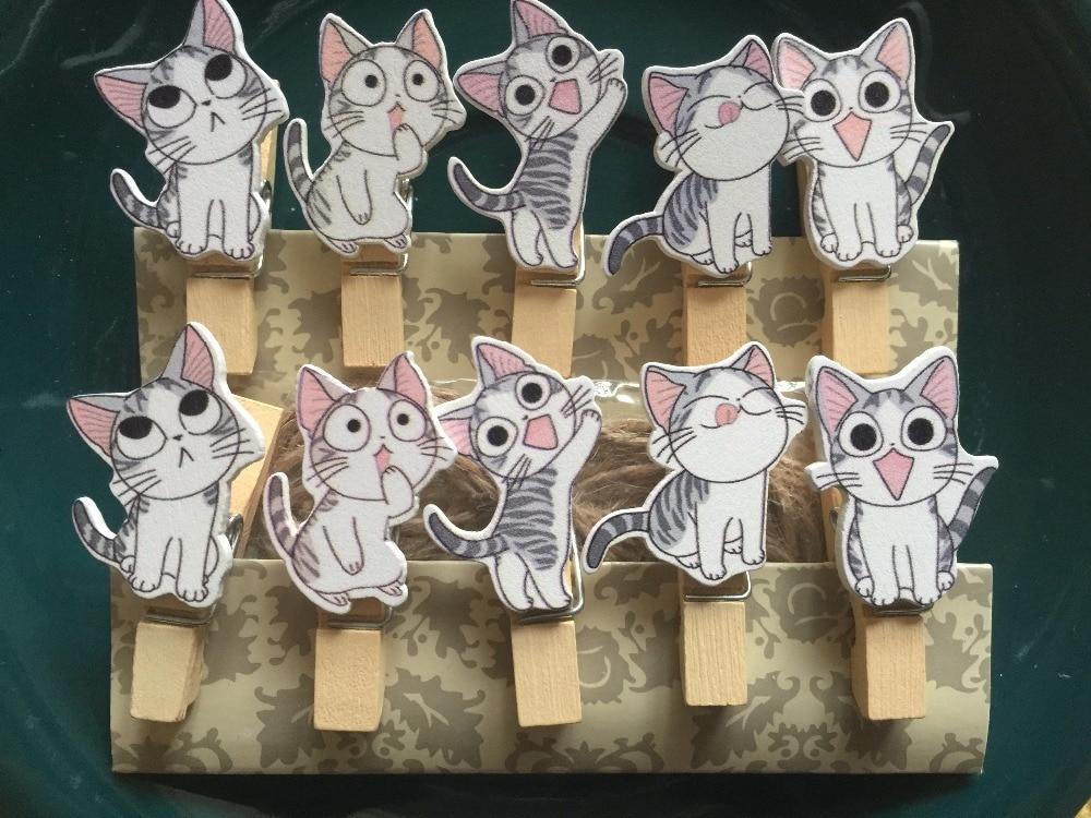 Toyvian 10 Piezas Clips de Fotos de Madera con Gatos Pinzas para Tarjetas Notas Ropas Decoraci/ón