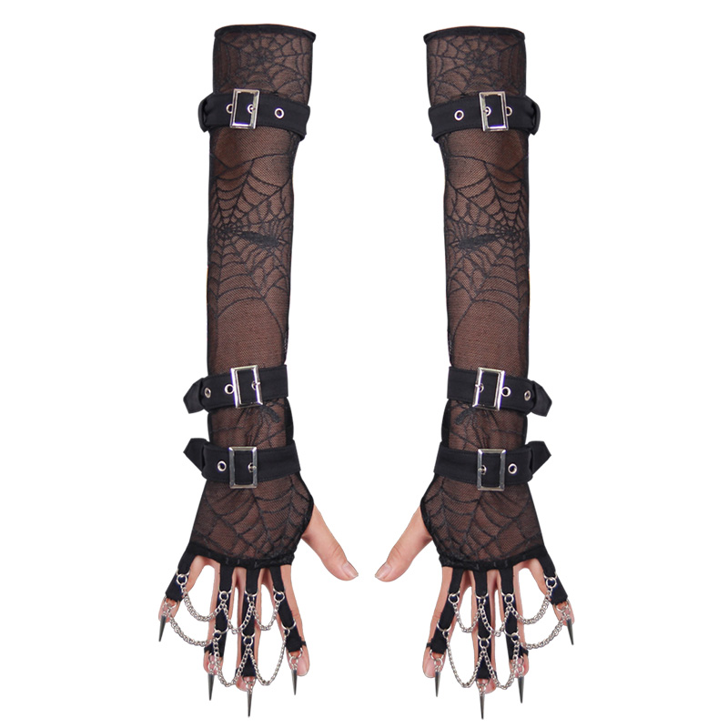 New Devil Fashion Punk Spring Autumn Women Arm Warmers Gloves Gothic Elastic Spider Mesh Arm Sleeves