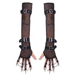 New Devil Fashion Punk Spring Autumn Women Arm Warmers Gloves Gothic Elastic Spider Mesh Arm Sleeves