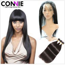 7A Unprocessed Brazilian Straight Hair With Closure 360 Frontal With Bundles Mink Human Hair Brazilian Virgin Hair With Closure
