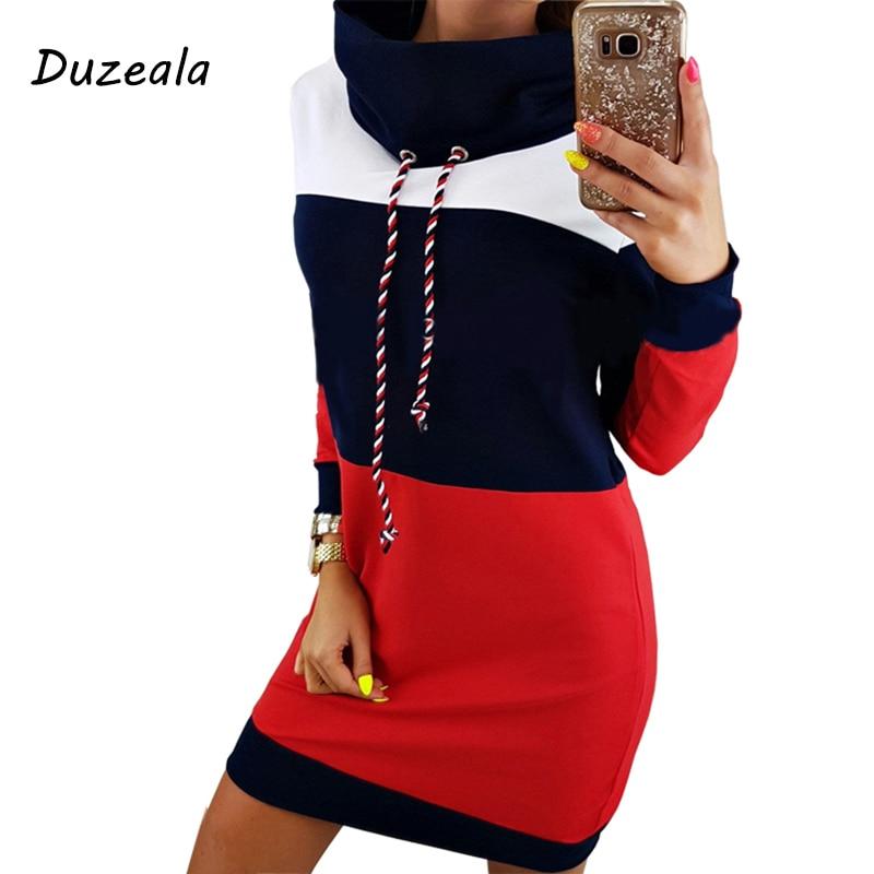 Duzeala Women Winter Turtleneck Long Sleeve Hooded Plus Size 2018 Autumn Striped Colorful Hoodie Dress Sweatshirt Dress