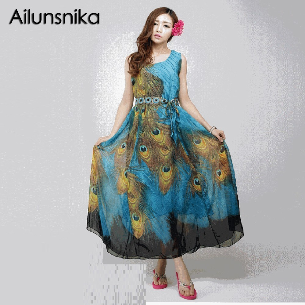 Ailunsnika 2018 Summer Fashion Casual Beach Chiffon Dress with Sash Sleeveless Peacock Feather Printing Pleated Tank Long Dress