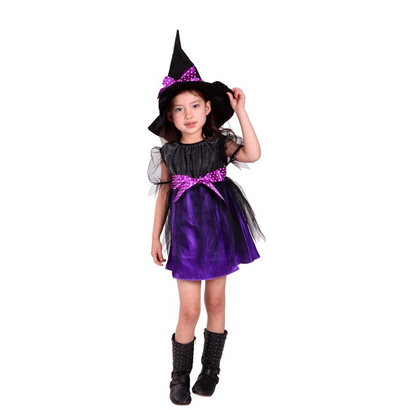 Kids Girls Purple Witch Cosplay Christmas Children's day birthday for Children Kids Dress Hat Fancy Fantasia Infantil Clothing