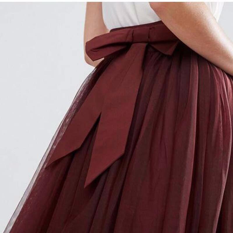 Vino Belleza Señora De Rojo Plisado Falda Wear Del Borgoña Saia Calle Tulle Vintage Modest Faldas Borgoña Verano Arco Partido Fajas FqO4AdBF