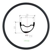 Light weight 310g 29er XC Asymmetric hookless MTB Carbon Rim 30mm x 22mm UD Matte Glossy 25mm inner width Mountain bike Wheel